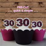 12x 30th pink leopard print EDIBLE wafer stand up toppers PRE-CUT