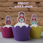 12x Babushka EDIBLE wafer stand up toppers Pre-CUT