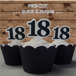 12x 18th birthday black number EDIBLE wafer stand up toppers PRE-CUT