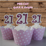 12x 21st hot pink birthday number EDIBLE wafer stand up toppers