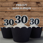 12x 30th black birthday number EDIBLE wafer stand up toppers