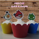 12x Angry Birds EDIBLE wafer stand up toppers PRE-CUT