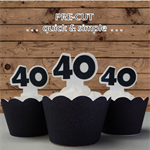12x 40th black birthday number EDIBLE wafer stand up toppers PRE-CUT