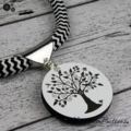 Tree of Life Pendant - Black & White - Laser Etched Button - Zig Zag Cord