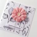 Botanical paper pink burlap flower happy birthday her friend sister mum card