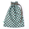 Kids Toy Bag. LAST ONE! Drawstring Bag to Carry Toys. Dots. Durable Lined Bag.