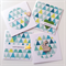 SET OF 4 cards geometric teal aqua range birthday love for you card