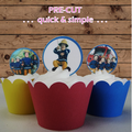 12x  Fireman Sam EDIBLE wafer stand up toppers PRE-CUT