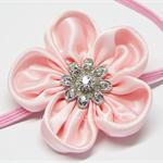 Bella 'Vintage' Headband - Baby Pink Satin