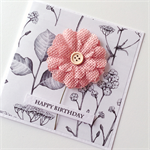 Botanical paper pink burlap flower happy birthday her friend sister mum card