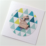 Geometric triangles aqua teal neon yellow wooden bunny rabbit card