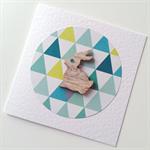 Geometric triangles aqua teal neon yellow wooden bunny rabbit blank general card