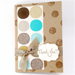 Thank You Card - Neutral with Aqua and Brown Circles