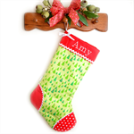 Personalised Christmas Stocking 'Christmas Candy Trees in Green' Riley Blake