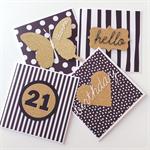 SET OF 4 gold monochrome black white range birthday hello thanks card