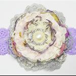 Vintage Ruffle Flower Headband - Purple