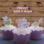 12x high tea time EDIBLE wafer stand up toppers PRE-CUT