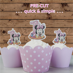 12x 1st birthday baby MInnie #2 EDIBLE wafer stand up toppers PRE-CUT