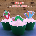 12x Hungry Caterpillar EDIBLE wafer stand up toppers PRE-CUT