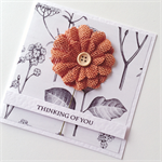 Thinking of You mocha brown burlap flower botanical paper sympathy friend card