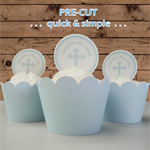 12x baby boy blue cross circles EDIBLE wafer stand up toppers PRE-CUT