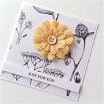 Yellow burlap flower botanical paper just for you  friend female mum card