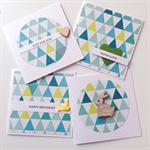 SET OF 4 cards geometric teal aqua range birthday love for you card