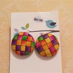 23mm multi-coloured check earrings