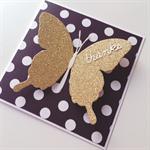 Monochrome black white polka dots gold glitter butterfly thank you thanks card