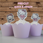 12x Hello Kitty EDIBLE wafer stand up toppers PRE-CUT