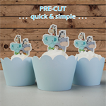 12x blue jungle animals EDIBLE wafer stand up toppers PRE-CUT