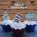 12x Cat in the Hat EDIBLE wafer stand up toppers PRE-CUT
