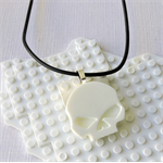 SKULL CANDY - cool skull pendant handmade in white resin