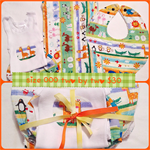 Unisex two by two size 000 singlet bloomer set, adjustable bib and burp cloth