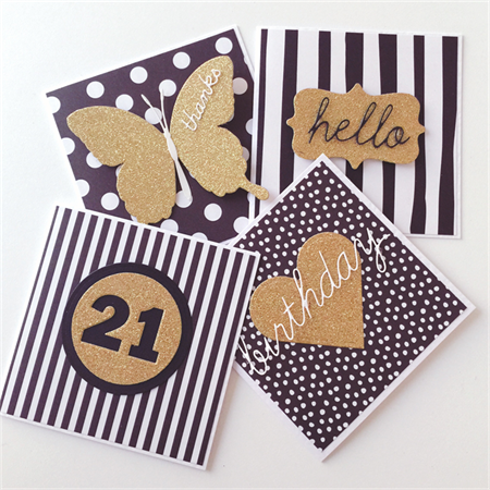 SET OF 4 gold monochrome black white range birthday hello thanks card