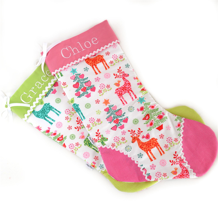 Personalised Christmas Stocking 'Nordic Holiday - Pink Trim ...