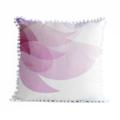 Pretty Pastel Pink Throw Pillow – flower cushion, floral, blossom, pom pom trim
