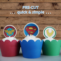 12x super hero circle logos EDIBLE wafer stand up toppers PRE-CUT