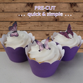 24x mini violet butterflies EDIBLE wafer stand up toppers PRE-CUT