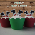 12x Santa Father Christmas legs EDIBLE wafer stand up toppers PRE-CUT