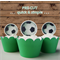 12x soccer balls EDIBLE wafer stand up toppers PRE-CUT