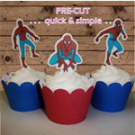 12x Spiderman EDIBLE wafer stand up topper PRE-CUT