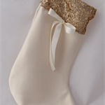 Luxury Gold Sequin & Satin Christmas Stocking. Santa Stockings. Christmas Décor.