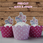 12x pink jungle animals EDIBLE wafer stand up toppers PRE-CUT