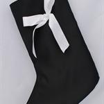 Monochrome Christmas Stocking. Luxury Black Satin Christmas Stocking.