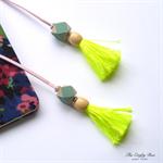 Neon Yellow/Celadon/Pastel Pink Tassel Bookmark