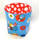 "Reversible Fabric Bucket - ""Dr Seuss - Red Dotty"" (15cm sq base)"
