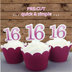 12x sweet 16 pink EDIBLE wafer stand up toppers PRE-CUT