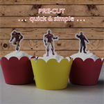 12x Iron Man EDIBLE wafer stand up toppers PRE-CUT