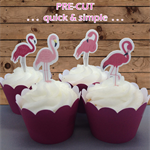 16x pink flamingos EDIBLE wafer stand up toppers